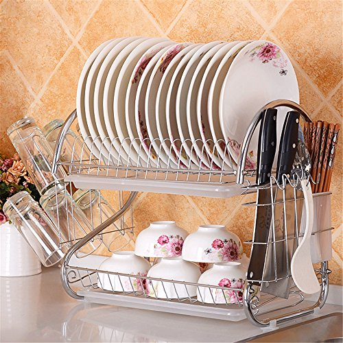 2 Layer Dish Drainer Rack Stainless Steel