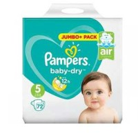 Pampers Baby Dry Size 5 (11-17 Kg) Jumbo + Baby Diapers Belt Nappies 72 pcs (UK)