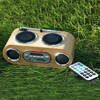 Bamboo Speaker with FM Radio, LCD Screen and Controller