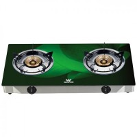 Walton WGS-3GNS1 (LPG / NG) Green 3D Glass Top Double Burner