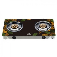 Walton WGS-GNS1 (LPG / NG) Leaf Sketch Glass Top Double Burner