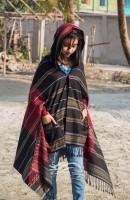 Monipuri Tater Suti Hoodie Shawl (Black & Red)