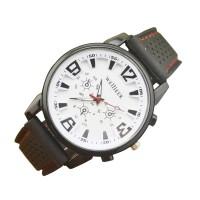 Leather Analog Wrist Watch For Men - Black & White