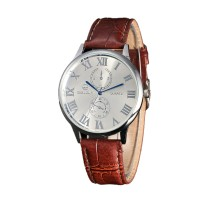 Leather Analog Wrist Watch For Men - Silver White & Brown