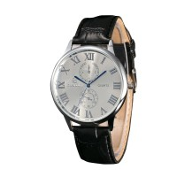 Leather Analog Wrist Watch For Men - Black & Silver