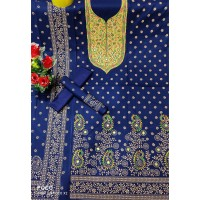 Fashionable Screen Print Embroidery Work Cotton Three Piece For Woman