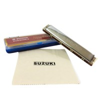 Suzuki Study-24 24 Holes Harmonica Tremolo Key of C with Cleaning Cloth Box Musical Instrument for Beginner Student