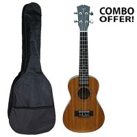 Combo of Zealux Listen Ukulele 24 Inch and Gig Bag Case Backpack (Wooden and Black)