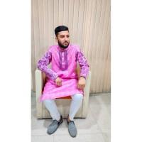 Stylish Panjabi dhupian & cotton mix (Pink)