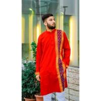 Stylish Panjabi dhupian & cotton mix (Deep Red)