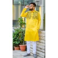 Stylish Panjabi dhupian & cotton mix (Yellow)