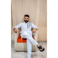 Stylish Panjabi dhupian & cotton mix (White)
