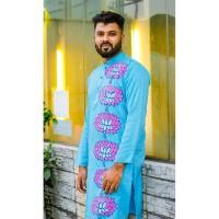 Stylish Panjabi dhupian & cotton mix (Sky Blue)