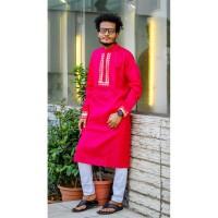 Stylish Panjabi dhupian & cotton mix (Magenta)